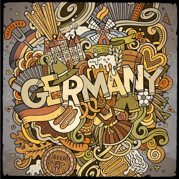 Cartoon cute doodles hand drawn Germany inscription Stock photo © balabolka