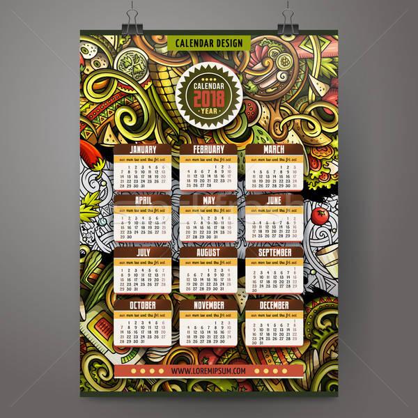 Cartoon colorful hand drawn doodles Mexican food 2018 year calendar Stock photo © balabolka