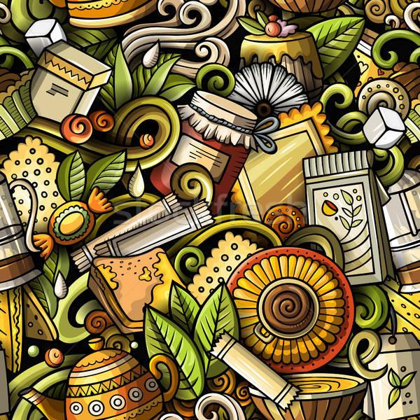 Cartoon cute doodles hand drawn Tea House seamless pattern Stock photo © balabolka