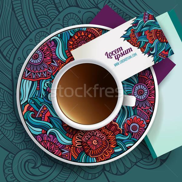 вектора Кубок кофе рисованной цветочный Сток-фото © balabolka