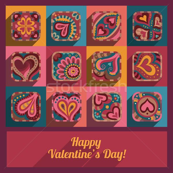 現代 心臟 情人節 裝飾的 手工繪製 圖標 商業照片 © balabolka