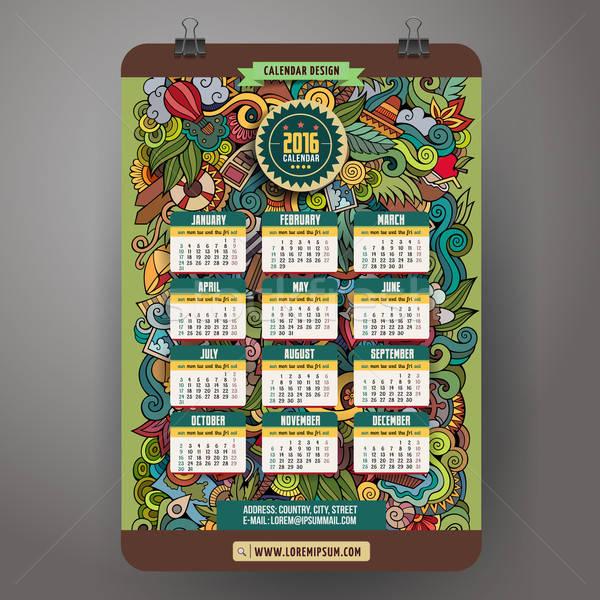 Doodles summer Calendar 2016 year design Stock photo © balabolka