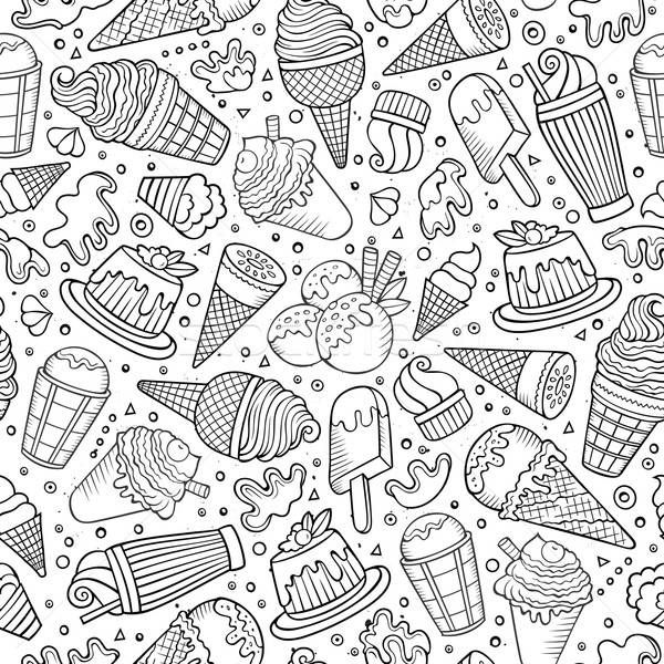Seamless Pattern With Hand Drawn Watercolor Ice Cream: Karikatur · Eis · Kritzeleien · Cute · Hand · Gezeichnet