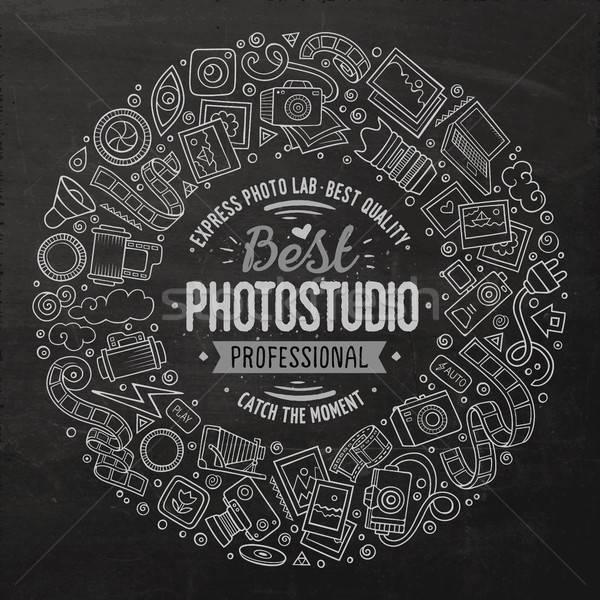 Set of Photo studio cartoon doodle objects round frame Stock photo © balabolka
