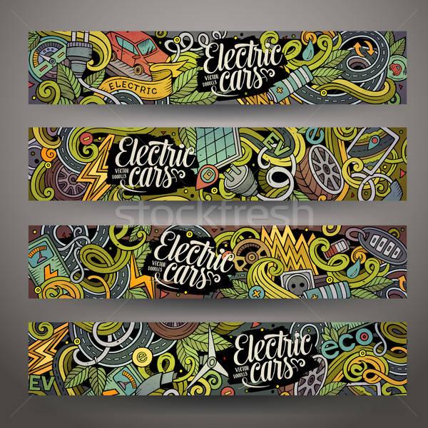Cartoon doodles electric cars banners Stock photo © balabolka