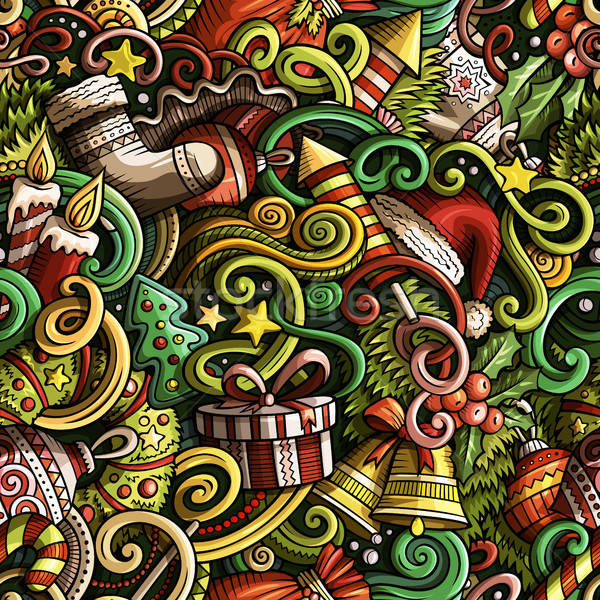 Cartoon cute doodles New Year seamless pattern Stock photo © balabolka