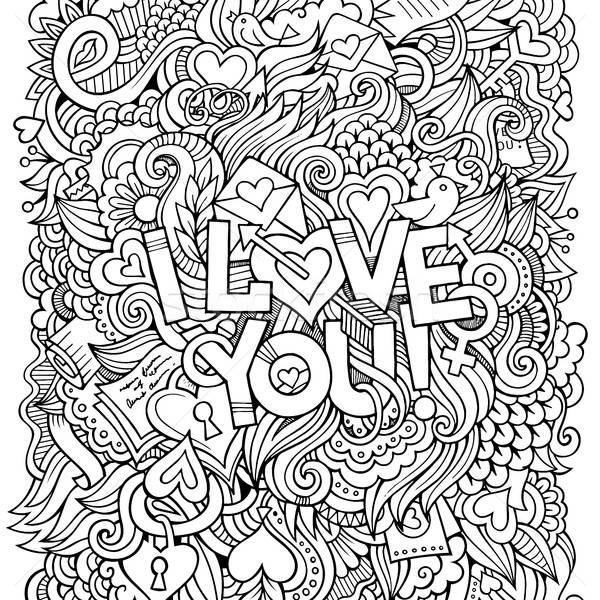 Love hand lettering and doodles elements background Stock photo © balabolka