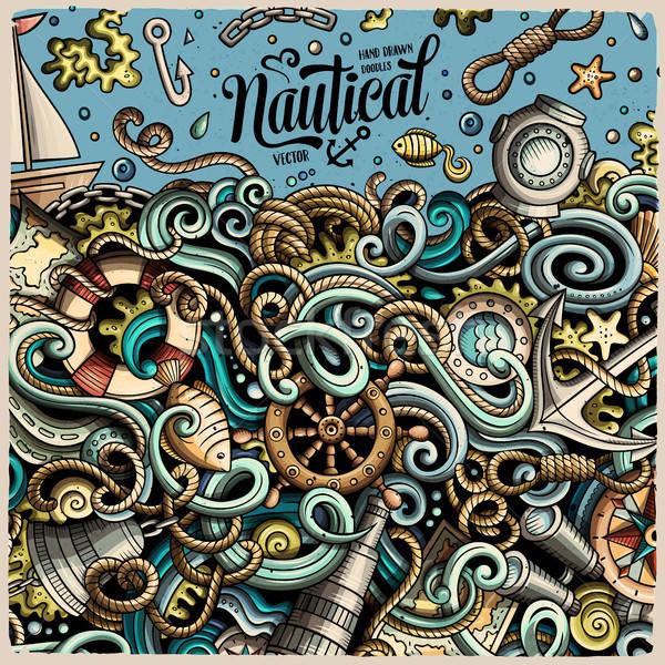Rajz vektor tengerészeti firka keret aranyos Stock fotó © balabolka