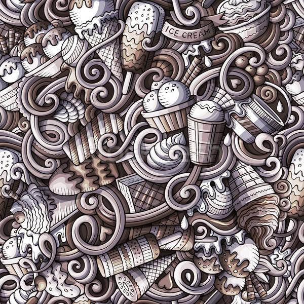 Rajz fagylalt firkák végtelen minta részletes tárgyak Stock fotó © balabolka