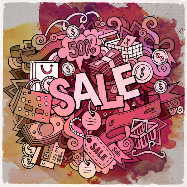 Cartoon cute verkoop opschrift Stockfoto © balabolka