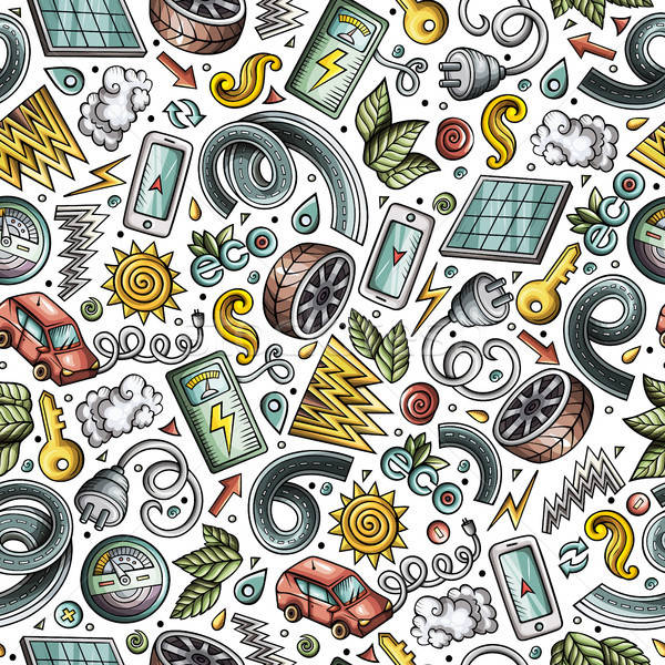 Cartoon cute hand drawn electric cars seamless pattern Stock photo © balabolka