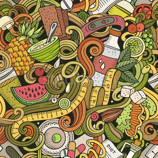 Foto stock: Desenho · animado · bonitinho · dieta · comida