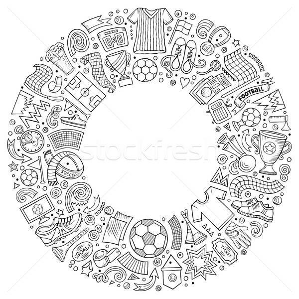 Szett vektor rajz firka futball tárgyak Stock fotó © balabolka