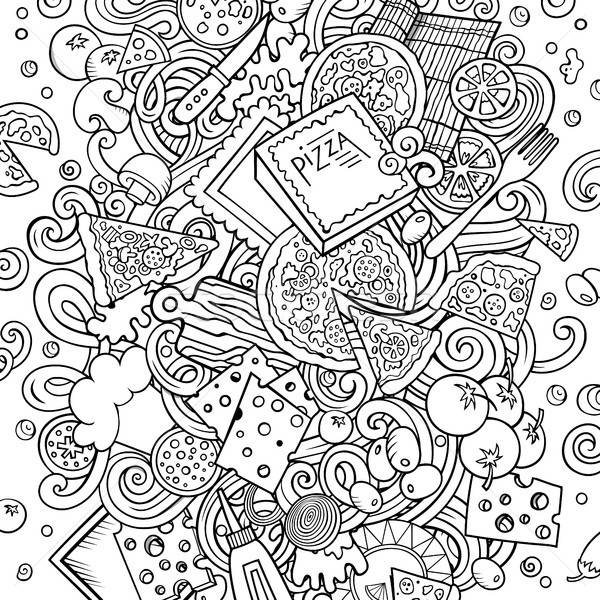 漫畫 向量 塗鴉 比薩 插圖 線 商業照片 © balabolka