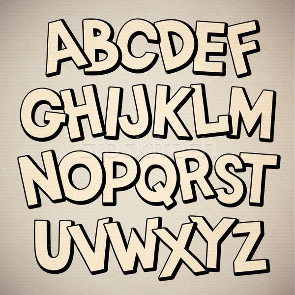 手工繪製 漫畫 塗鴉 向量 字母 商業照片 © balabolka