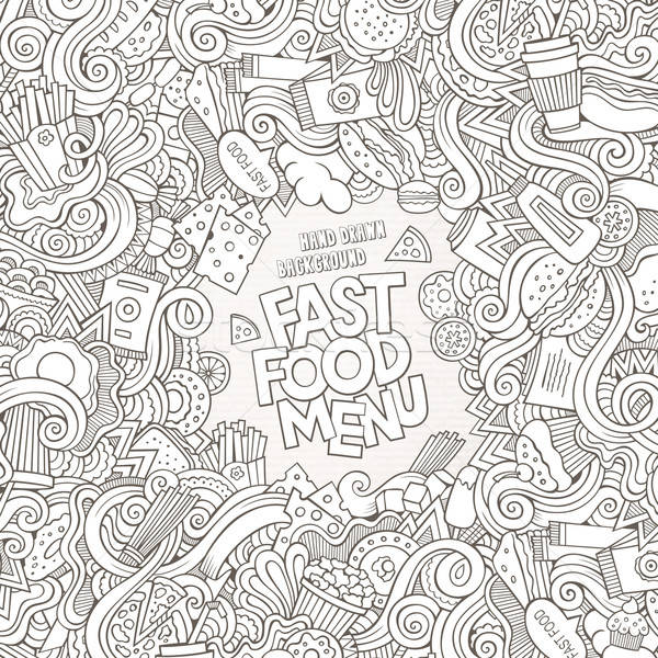 Fast-food elementos quadro café arte Foto stock © balabolka