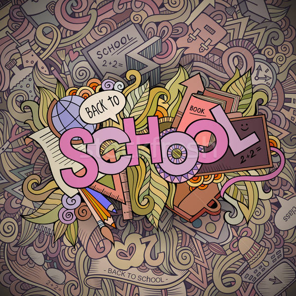 School cartoon hand lettering and doodles elements background Stock photo © balabolka