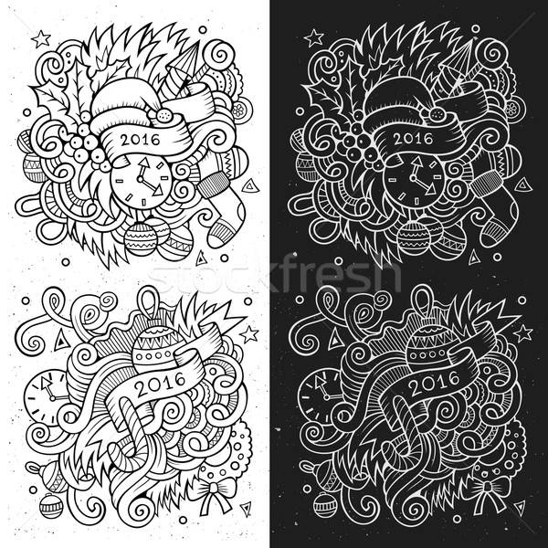 New year doodles elements sketchy and chalkboard emblems Stock photo © balabolka