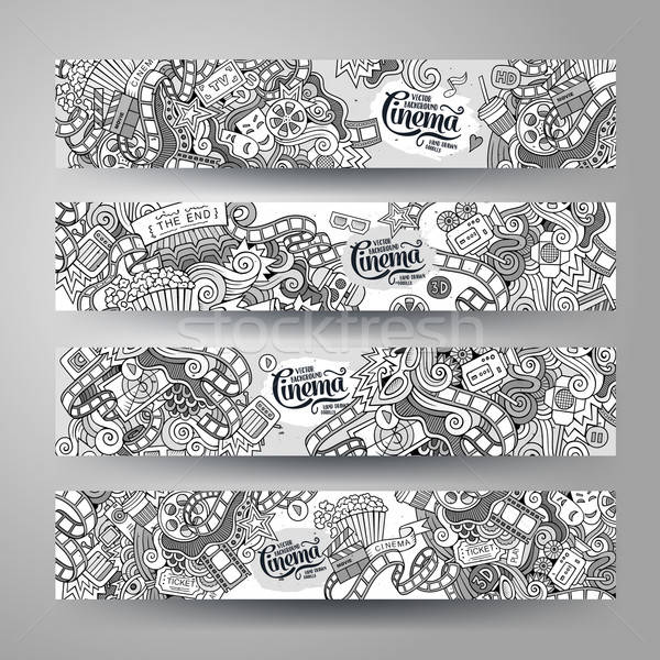 Cartoon vector bioscoop doodle horizontaal Stockfoto © balabolka