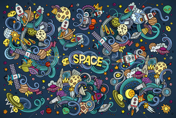 Colorful vector hand drawn doodles cartoon set of Space objects  Stock photo © balabolka