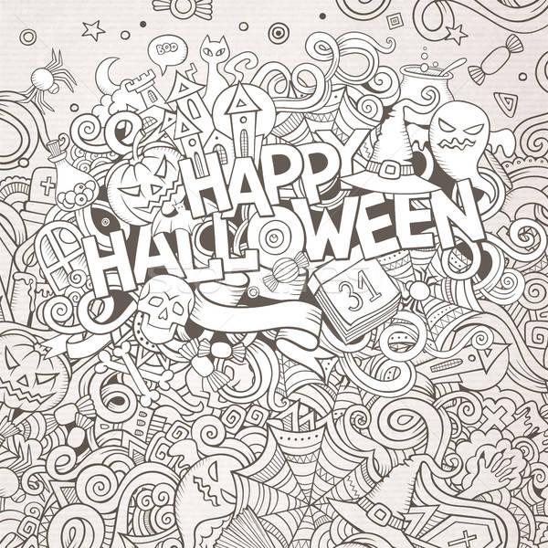 Cartoon cute doodles hand drawn Happy Halloween illustration Stock photo © balabolka