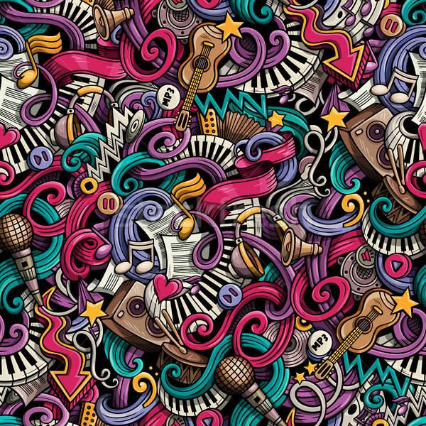 Stock fotó: Rajz · kézzel · rajzolt · firkák · zene · végtelen · minta · aranyos