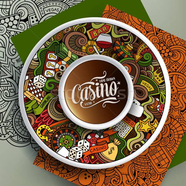 Csésze kávé kaszinó firkák csészealj papír Stock fotó © balabolka