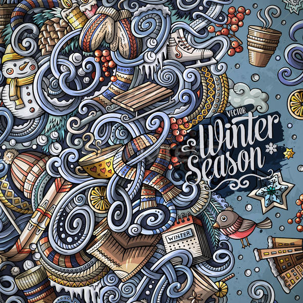 Stock photo: Cartoon cute doodles Winter season frame design
