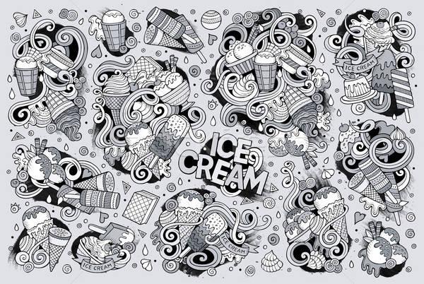 Line art vector cartoon set of ice-cream objects Stock photo © balabolka