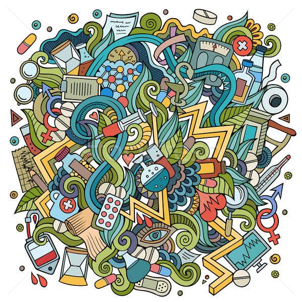 Cartoon cute doodles hand drawn Medical illustration Stock photo © balabolka
