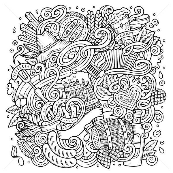 Cartoon cute doodles hand drawn Oktoberfest illustration Stock photo © balabolka