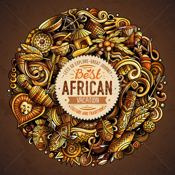 Cartoon vector doodles Africa illustration Stock photo © balabolka