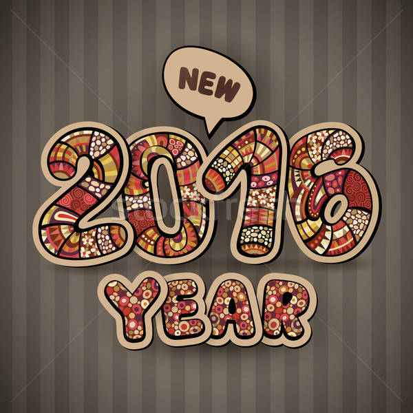 Stok fotoğraf: Happy · new · year · 2016 · dekoratif · bağbozumu