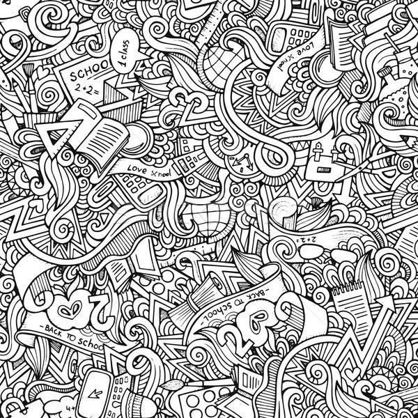 Kézzel rajzolt iskola végtelen minta rajz vektor firkák Stock fotó © balabolka