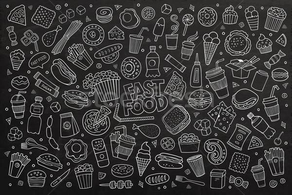 Fast food krijt boord vector Stockfoto © balabolka