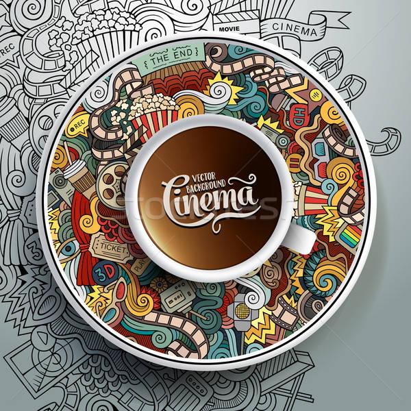 Ceaşcă cafea cinema farfurioara Imagine de stoc © balabolka