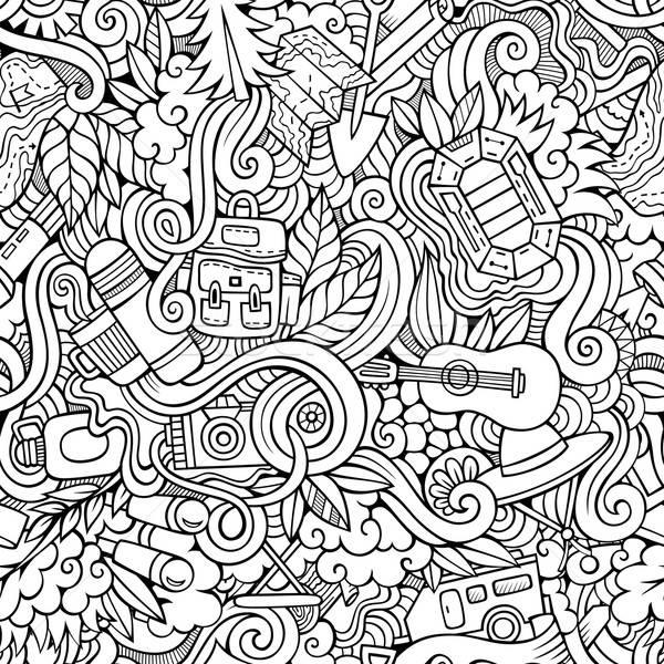 Stock photo: Cartoon vector doodles camping seamless pattern