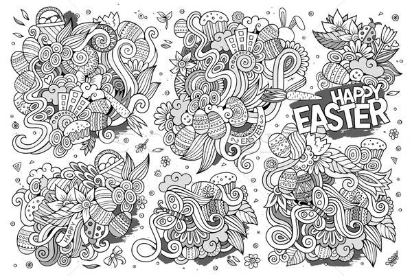 Sketchy vector hand drawn doodles cartoon set of Easter objects  Stock photo © balabolka