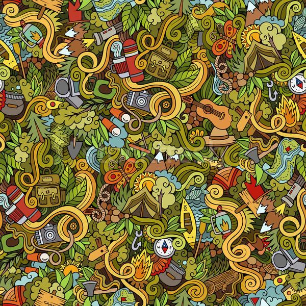 Desenho animado vetor camping colorido Foto stock © balabolka