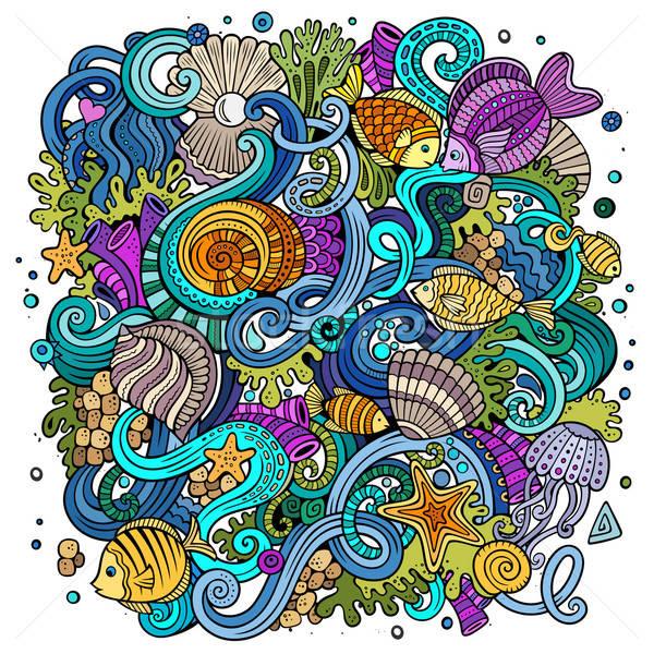 Cartoon подводного жизни иллюстрация красочный Сток-фото © balabolka