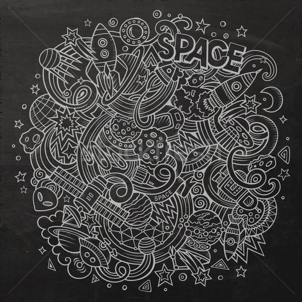 漫畫 塗鴉 空間 插圖 黑板 詳細 商業照片 © balabolka