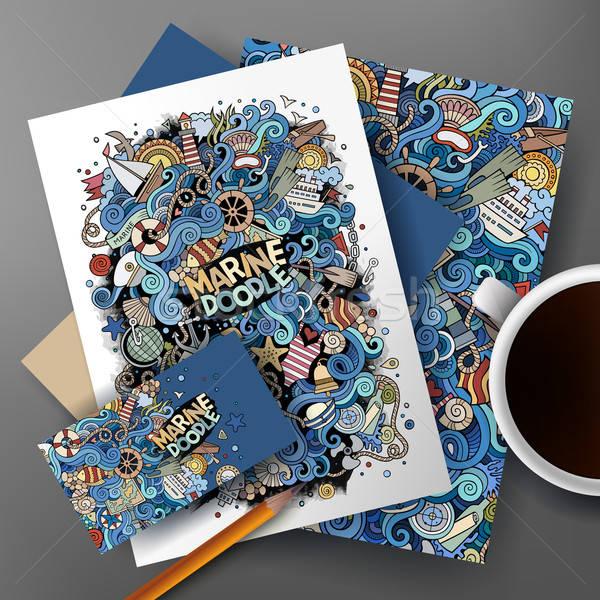 корпоративного личности вектора морской болван набор Сток-фото © balabolka