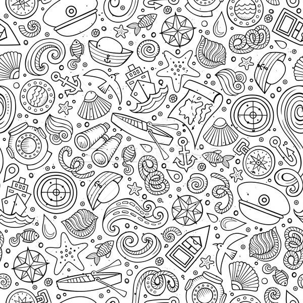 Cartoon nautical seamless pattern Stock photo © balabolka