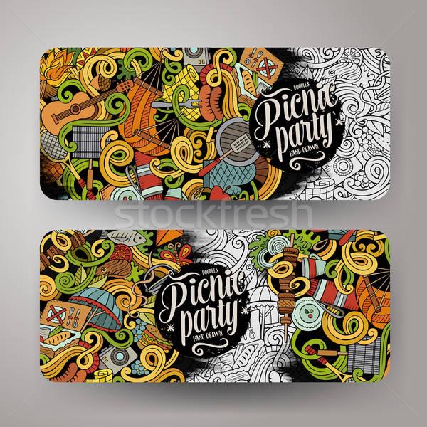 Cartoon vector picnic doodle vertical banners Stock photo © balabolka
