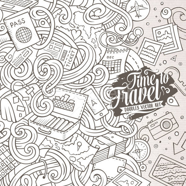 Cartoon cute doodles Travel frame design Stock photo © balabolka