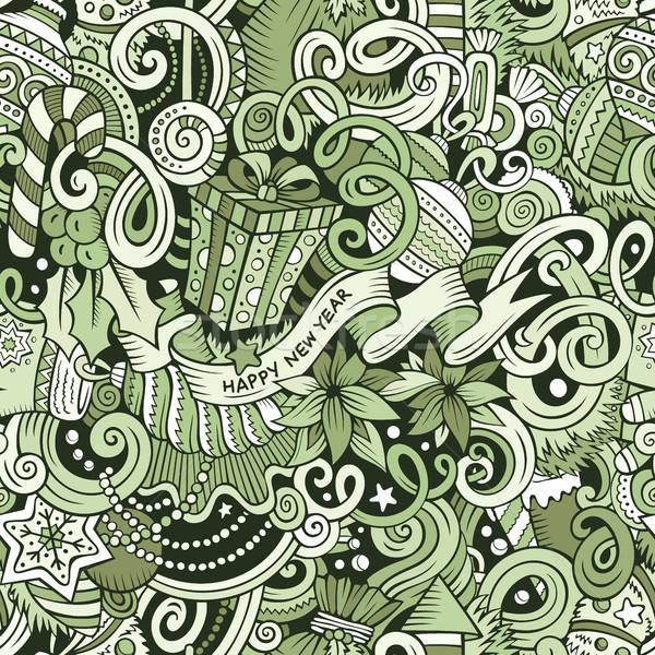 漫畫 可愛 塗鴉 新年 線 商業照片 © balabolka