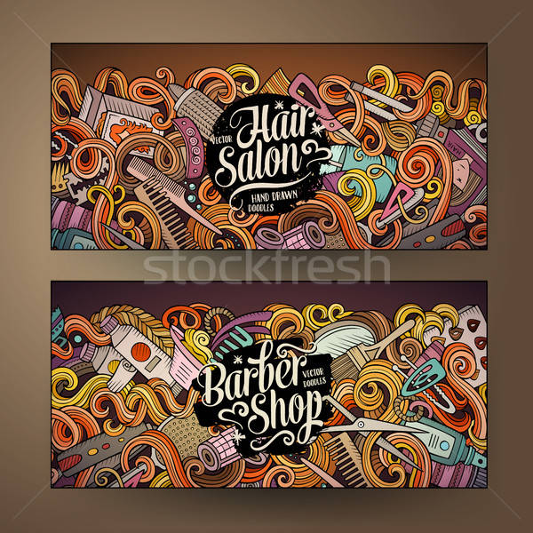 Cartoon cute vector doodles Hair salon banners Stock photo © balabolka