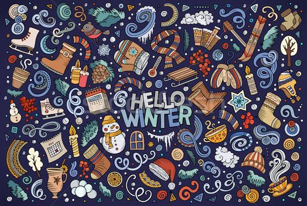 Cartoon set of Winter season objects Stock photo © balabolka