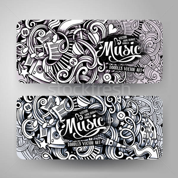 Graphics vector hand drawn sketchy trace Music Doodle banners Stock photo © balabolka