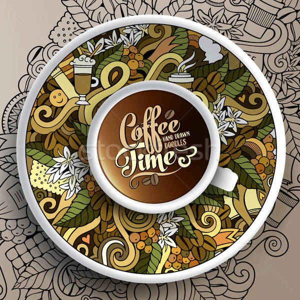 Vector illustration with a Cup and hand drawn Coffee doodles Stock photo © balabolka